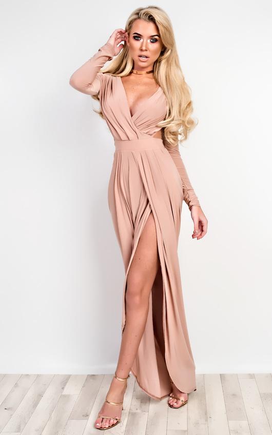 Mitra Bodycon Maxi Dress In Rose | iKrush