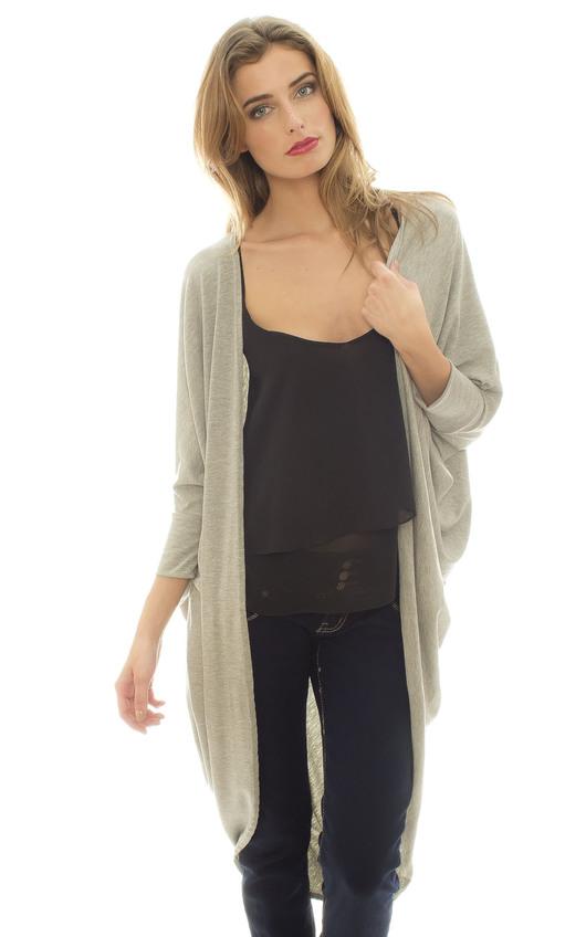 Kera Longline Batwing Cardigan In Light grey | iKrush