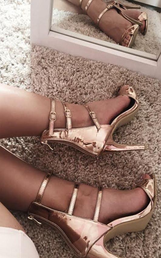 Khloe Rose Gold Stiletto Heels in Rose Gold