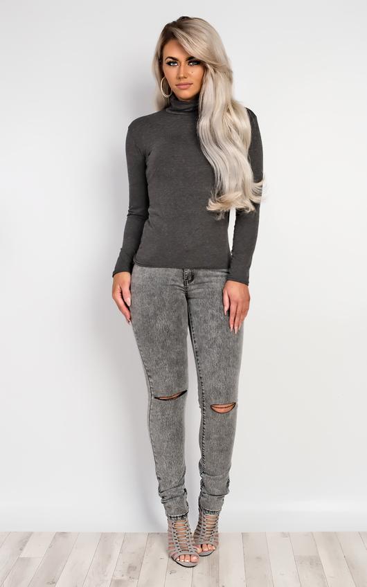 Carmela Polo Neck Jumper in Dark Grey