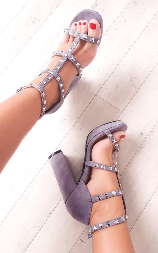 Layla Strappy Faux Suede Studded Block Heels in Grey