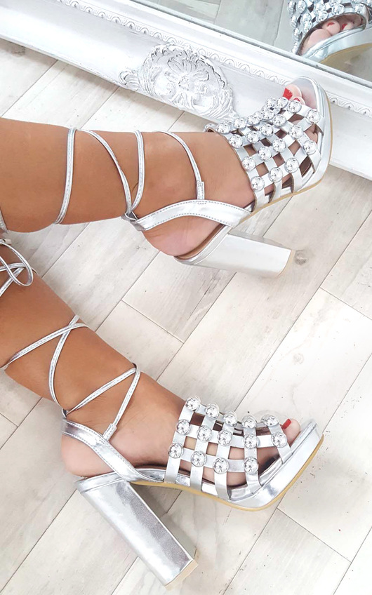 Carmen Studded Caged Block Heels in Silver