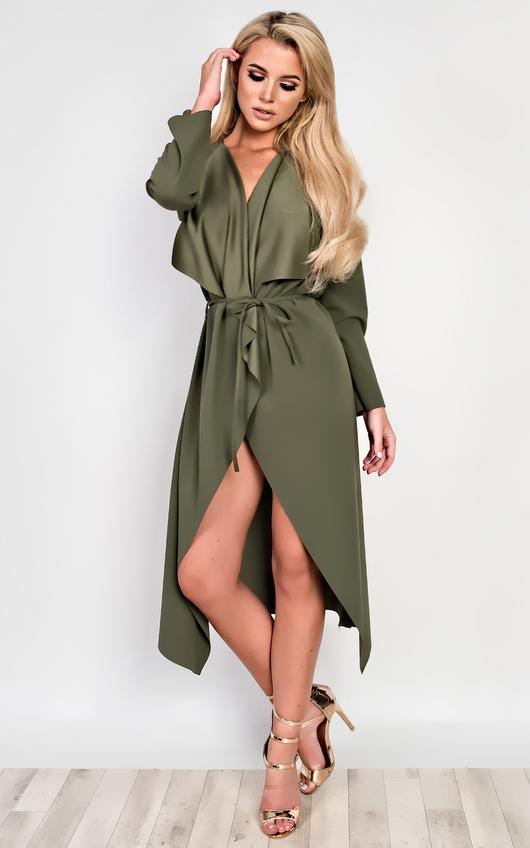 Lysa Long Over Coat in Khaki