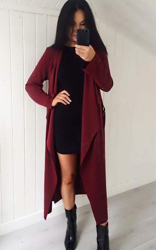 Lysa Long Over Coat in Wine
