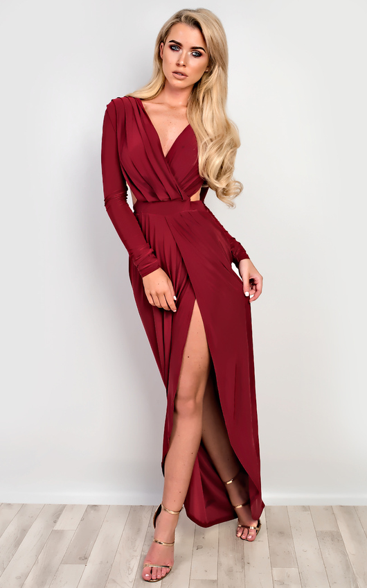 Mitra Bodycon Maxi Dress In Wine | iKrush