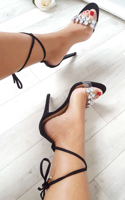 Jalena Jewelled Clear Strap Heels in Black