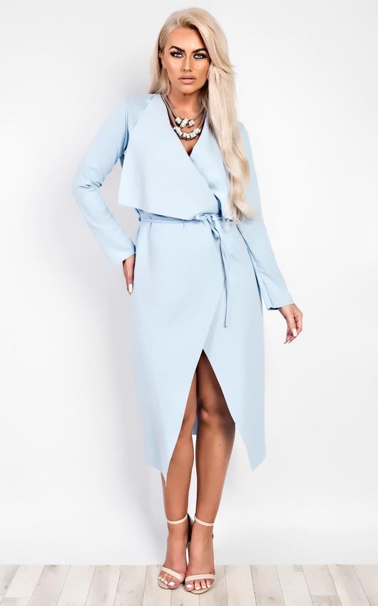 Lysa Long Over Coat in Light Blue
