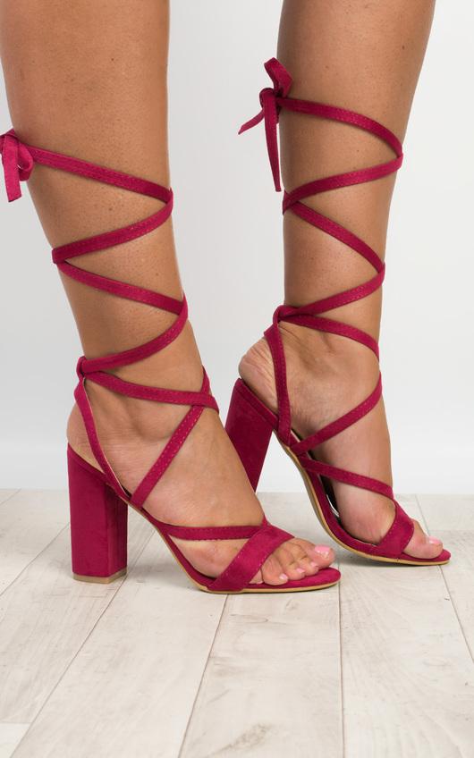 Veera Strappy Block Heels in Fuschia