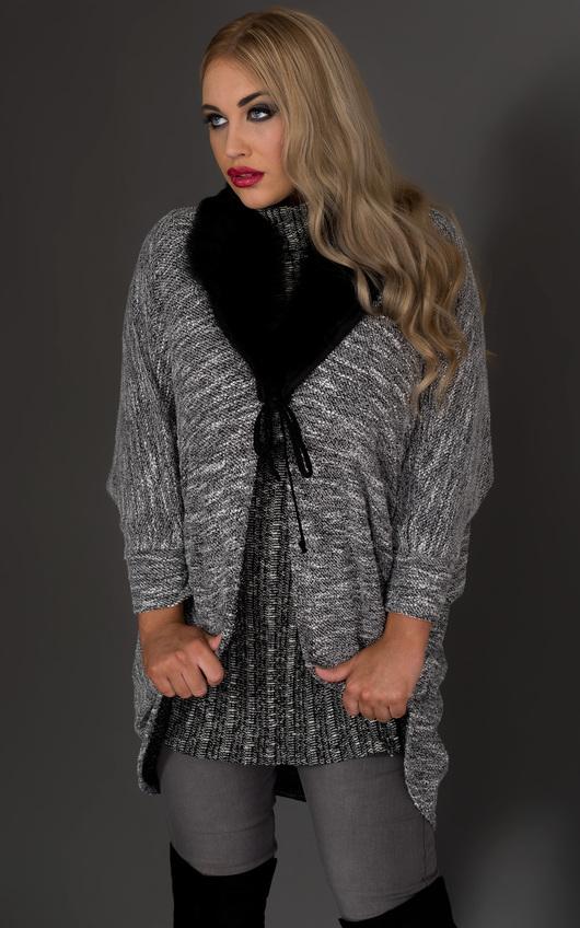 Ariel Faux Fur Collar Cardigan in Grey