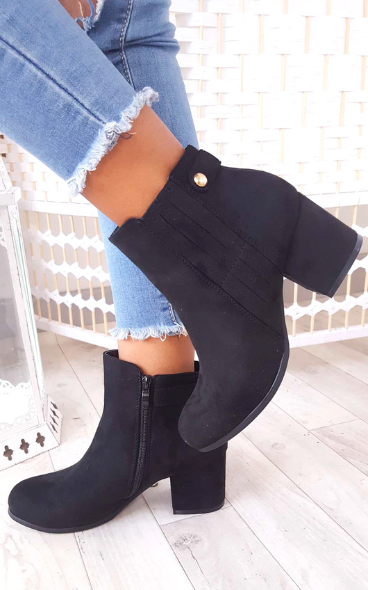 Klarissa Faux Suede Gold Button Ankle Boots in Black