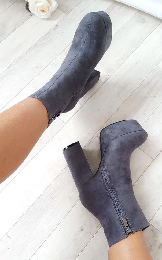 Robyn Suede Platform Boots in Grey