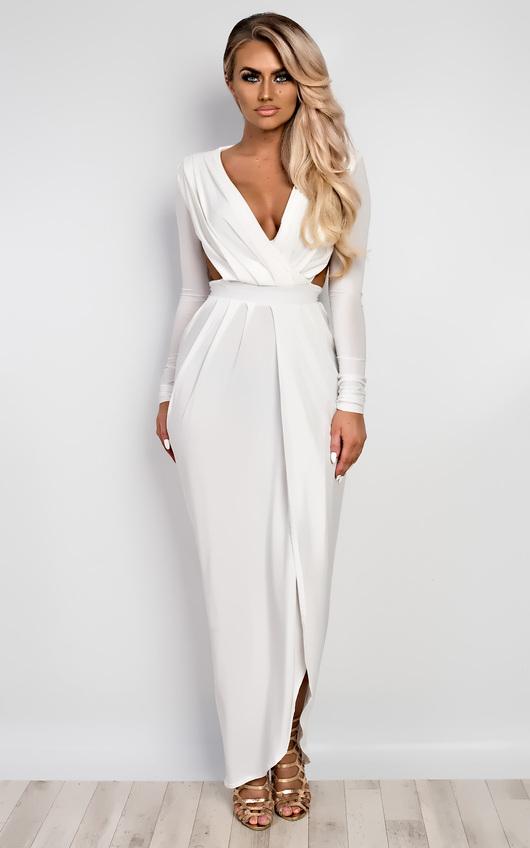 Mitra Bodycon Maxi Dress In Ivory | iKrush