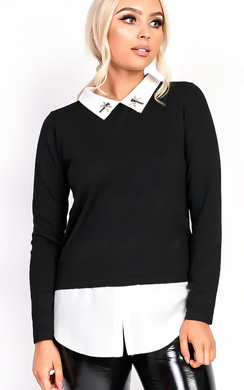 Lizzie Embellished Collar Shirt Jumper