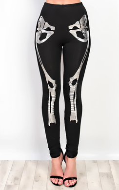 Skeleton Fancy Dress Metalic Leggings