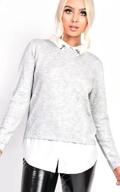 Lizzie Embellished Collar Shirt Jumper