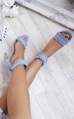 Colette Denim Frayed Sandal Heels