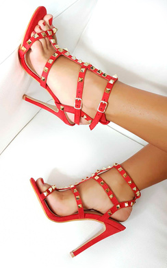 Anya Faux Suede Studded Heels