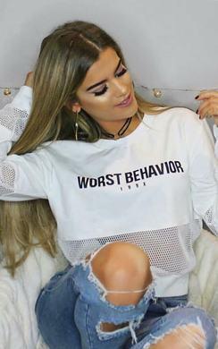 Klara Slogan Mesh Crop Sweater