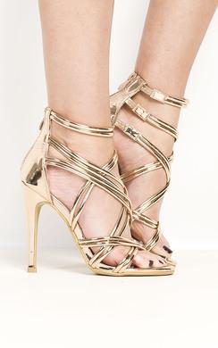 Genevieve Strappy Chrome High Heels