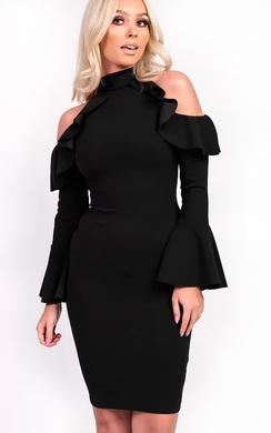 Elisia Frill Long Sleeved Midi Dress