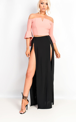 Shelly Bardot Frilled Sleeve Crop Top