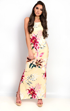 Brianna Floral Slit Side Maxi Dress