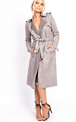 Alana Faux Suede Trench Jacket