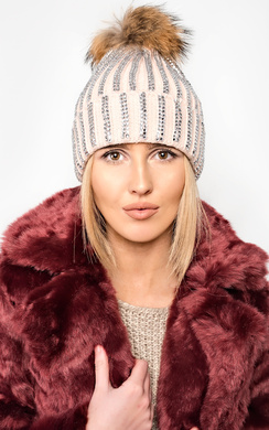 Darcy Knit Diamante Pompom Hat