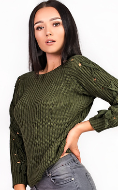Evie Knitted Lace Up Jumper