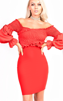 Carlina Bardot Stretch Long Sleeved Frill Dress