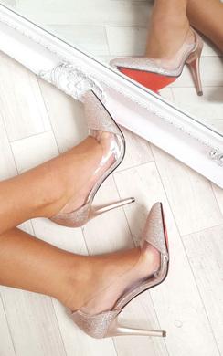 Mel Red Sole Clear Panel Glitter Heels