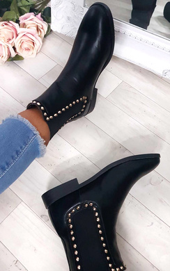 Lana Studded Chelsea Faux Leather Ankle Boots