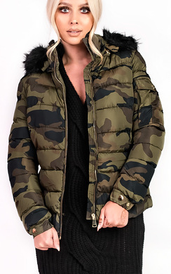 Josephine Camo Padded Faux Fur Hooded Jacket