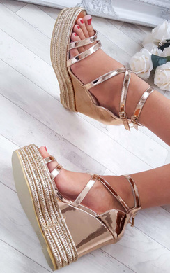 Annie Rose Gold Strappy Wedges