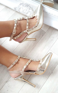 Kirsty Multi Strap T-Bar Studded Court Heels