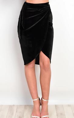 Ruby Velour Asymmetric Skirt