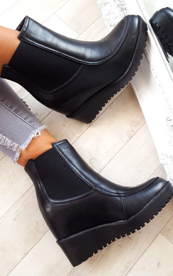 Kelsey Stretch Faux Leather Wedged Ankle Boots