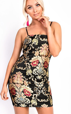 Desi Floral Print Straight Neck Stretch Bodycon Dress
