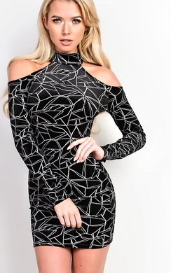 Johanna Velour Cold Shoulder Bodycon Dress