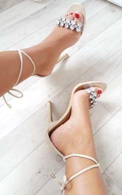 Jalena Jewelled Clear Strap Heels