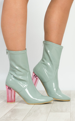 Kym Perspex Patent Heeled Ankle Boots
