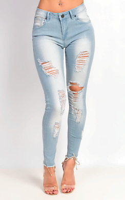Lorina Mid Rise Skinny Ripped Jeans