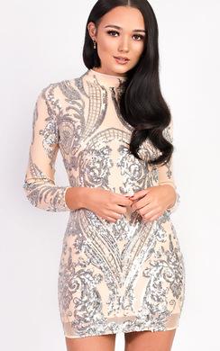 Alesha Sequin Long Sleeved Dress