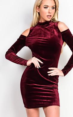 Elouise Velour Cold Shoulder Bodycon Dress