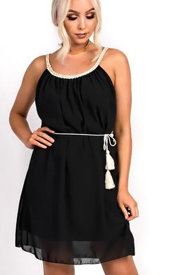 Hestia Pleated Tie Waist Chiffon Dress