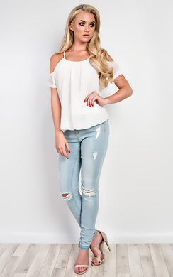 Kirstine Cold Shoulder Chiffon Top