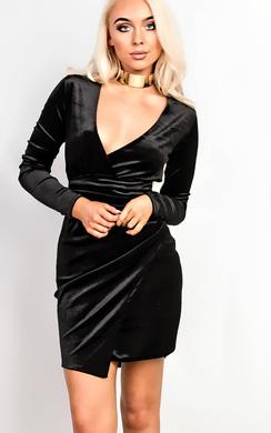Emelia Velour Wrap Dress
