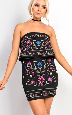 Fleur Flower Detail Bardot Dress