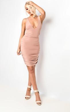 Jaelle Ruched Cross Strap Mini Dress