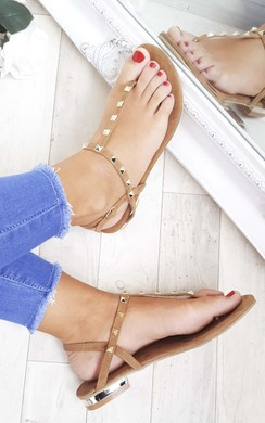 Kacey Faux Suede Studded Sandals